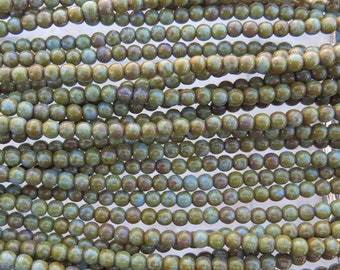 4mm Opaque Light Blue Turquoise Picasso Czech Glass Round Beads - Qty 100 (BS313)