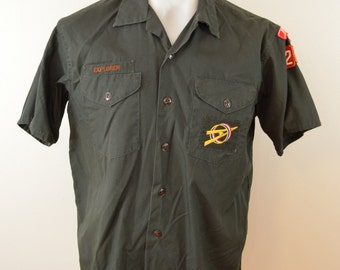 sale Vintage BOY SCOUTS Explorer Official Shirt short sleeve 1960's 70's loop collar sanforized