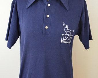 last chance Vintage CHAMPION BLUE BAR Ladies Polo Shirt medium college gymnastics