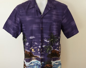 Vintage RJC Hawaiian Shirt dark PURPLE night scene size Large Made in Hawaii usa box hem