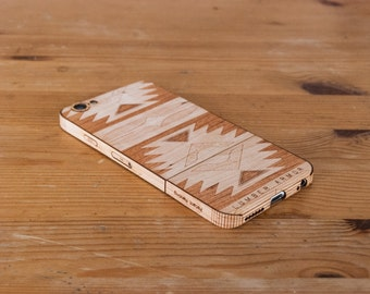 Laser-Etched Wood iPhone Case - Navajo Design - Lumber Armor - Fits iPhone 6, 6S, SE, 6+ / 6S+, 5S / 5