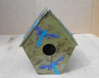 Ceramic Birdhouse with Dragonflies