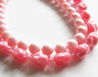 Pink   Plastic Double Strand Necklace