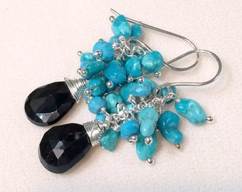 Turquoise Cluster Earrings Black Spinel Gemstone Wire Wrapped Cluster Sleeping Beauty Turquoise Nuggets, Sterling Silver