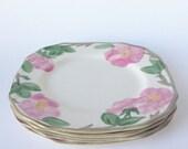 Vintage Franciscan Desert Rose Flowers, Desert/Bread and Butter Plates, Vintage Dish Set of Four