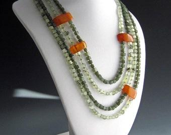 Multi-strand Necklace   Quartz, Jade and Amber Necklace  