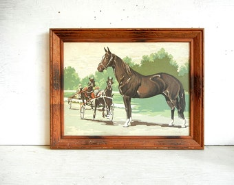Paint By Number Horses | PBN Painting | Harness Racing PBN | Rustic Wood Frame | Horse Painting