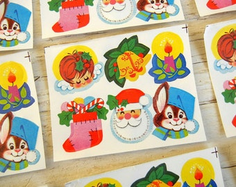 Vintage Christmas Die Cut Seals | Holiday Stickers | Santa Bunny Stocking Angel | Mid Century Holiday | 30 pcs
