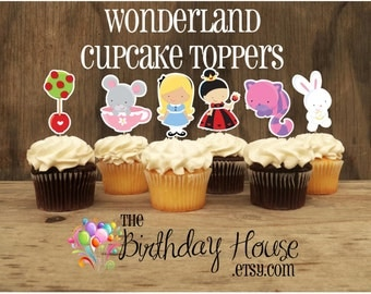 Wonderland Party - Set of 12 Double Sided Assorted Alice in Wonderland Cupcake Toppers by The Birthday House