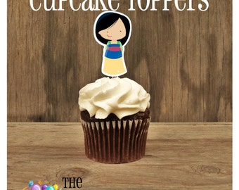 Princess Party - Set of 12 Mulan Cupcake Toppers by The Birthday House