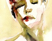 """Giclee Print - Female Figurative Watercolor Painting  8"""" x 10"""" - """"Calico Sky"""""""