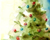 Watercolor Tree, Olive Green, Red and Green, Christmas Art, Christmas Tree, Holiday Decor, Family Christmas, Watercolor Print, Tree Art