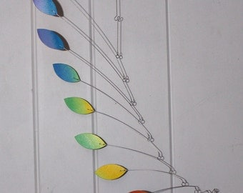 Adult Mobile READY TO SHIP - Leaf Wave Style - Rainbow Kinetic Sculpture for your Home or Office