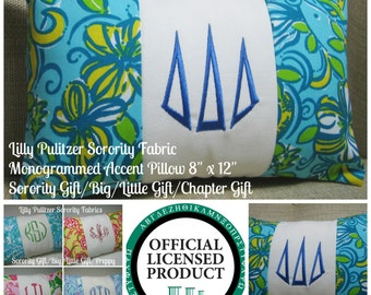 "Monogrammed Tri Delta Pillow (Lilly Pulitzer Sorority Fabric) w/ INSERT 8""x12""/Sorority Gift/ Big/ Little Gift/Bid Day/Chapter Gift"