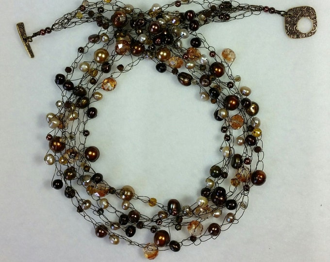 Sparkling Earthy Browns Wire Crocheted Multi Strand Necklace