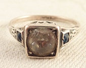 Antique Size 8 Art Deco Round Glass Rhinestone Sterling Ring