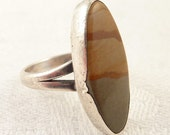 Size 6.25 Vintage Sterling and Landscape Agate Native American Ring