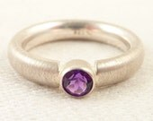 Size 5.5 Vintage Brushed Sterling Small Round Amethyst Ring