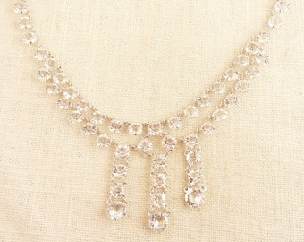 Vintage Art Deco Open Back Prong Set Glass Rhinestone Chandelier Necklace