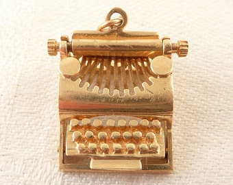 Large Vintage 14K Gold A.C. Moveable Detailed Typewriter Charm