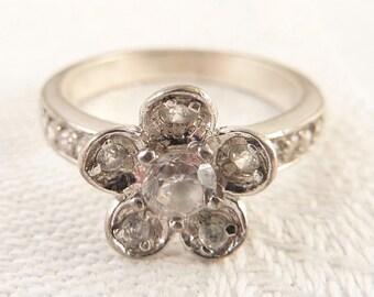 Size 7 Vintage Sterling Cubic Zirconia Rhinestone Flower Ring