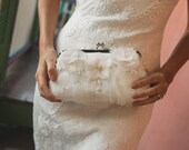 Ivory and Champagne Bridal Clutch with Alencon French Lace Organza Flower and Freshwater Peals Swarovski Crystals in Ivory LAFORET ANGEE W.