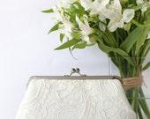 Ivory Alencon Parsley Lace Clutch | Bridal Clutch