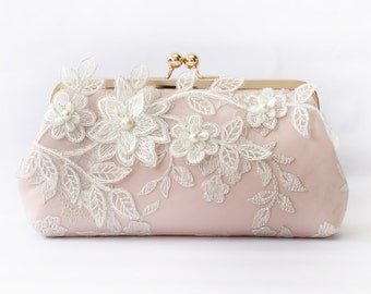 Bridal Clutch with Magnolia Flower Vine Lace in Blush Pink and Rose Gold 8-inches (Ready to ship)