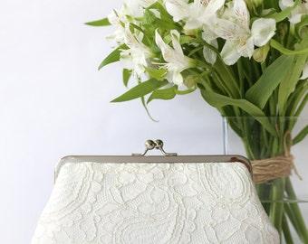 Ivory Alencon Paisley Lace Clutch | Bridal Clutch