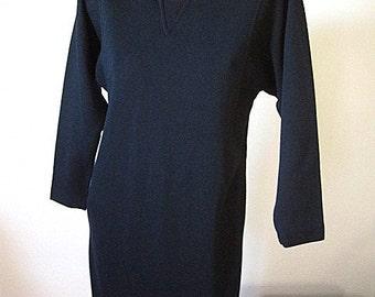 Vintage 80s Dolman Sleeve Black Long Sleeved Knit Dress