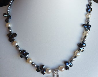 Necklace — Hammered Sterling Silver Pendant, Hematite Briolettes, Freshwater Pearls