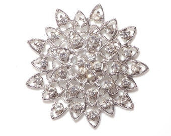 Pack of 10 Diamante Flowers 5cm Silver Tone with Clear Stones for Tiara Making and Millinery
