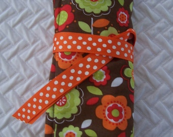 Travel Jewelry Roll, Fall Flowers, Travel Jewelry Case, Travel Makeup Case, Teacher Gift, Bridesmaids Gift, Travel Organizer
