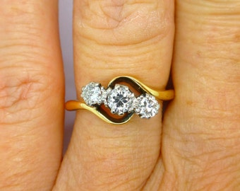 Antique engagement ring 18ct Platinum Diamond 3 Three stone bypass ring c1930's English Estate Trilogy crossover 0.40ct*FREE SHIPPING**
