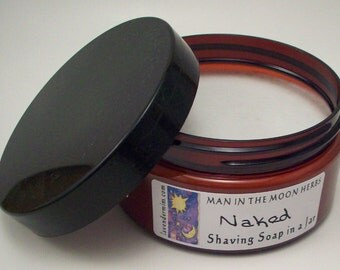 Classic Shea Butter Kaolin Clay Shave Soap in a Jar - No Added Color or Fragrance - Mens Grooming - Gifts for Dad - Travel Shaving Soap