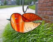 Red Swirl Songbird Stained Glass Suncatcher  bird suncatcher