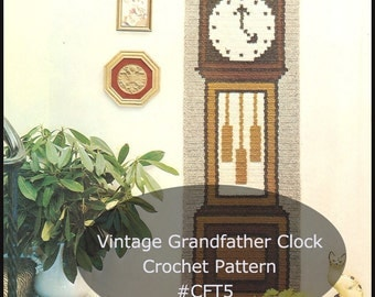 Wall Hanging Grandfather Clock crochet clock | etsy
