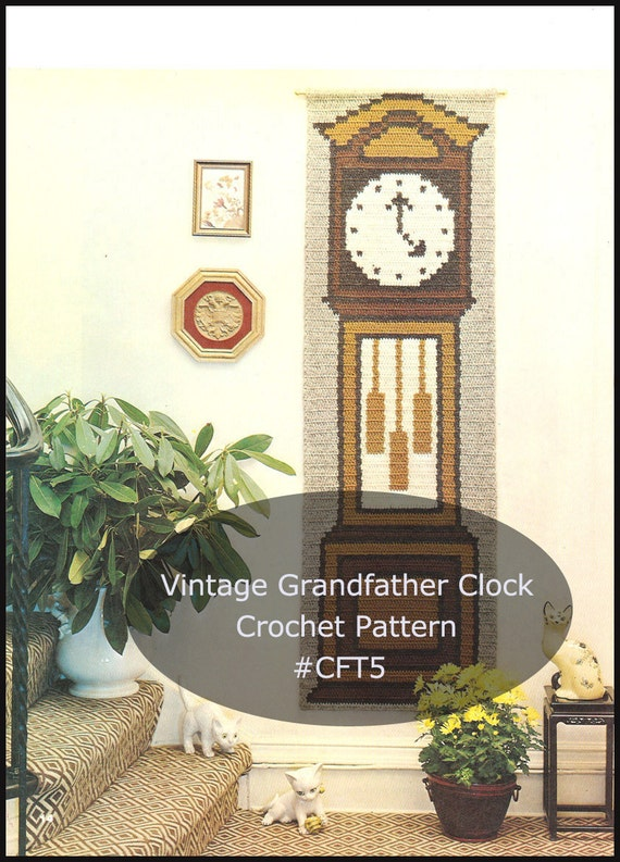 Items similar to grandfather clock crochet pattern clock to crochet wall hanging crochet pattern - Wall hanging grandfather clock ...