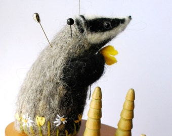 Original Handmade Needle Felted Badger Pin Cushion