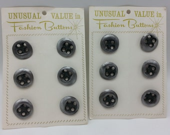 12 Techie Pewter Tone Solid Metal Buttons 2 Cards of 6 Vintage Pewter Tone Solid Metal Buttons with metal shank back.