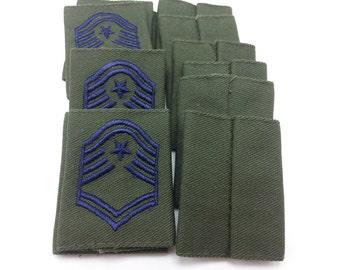12 Senior Master Sergeant Rank Patch Epaulet Slip-On Insignia E8 US Air Force
