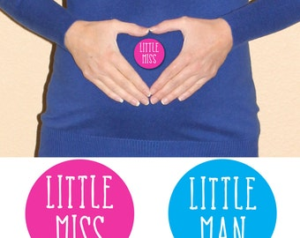 Gender Reveal Stickers Set of 24, Little Miss, Little Man, Baby Shower, Gender Reveal Party, Girl or Boy