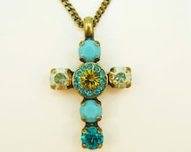 Teal Lime Swarovski Cross Necklace Aqua Turquoise Blue Cross Pendant Lime Green Necklace 7mm Crystal Rhinestones,Brass,Caribbean sea,BN32