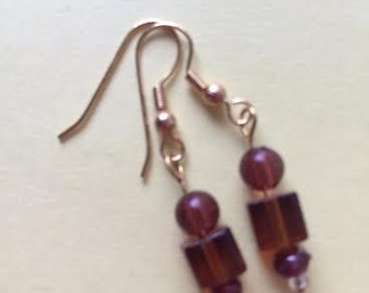 Dangle Earrings of Chocolate Brown Crystal Beads on Silver Earring Hooks by BeckyPaints
