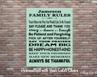 Personalized Family Rules, Be Happy Honest Kind, Personalized Gift,DIGITAL,YOU PRINT, Printable Gifts, Personalized Family Art, Family Decor