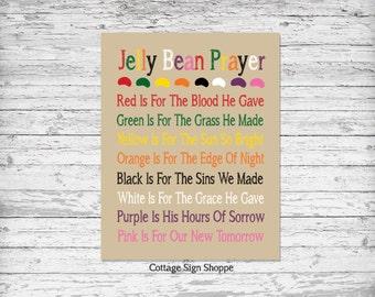 "Jelly Bean Prayer, Easter Jelly Bean Prayer, 4 x 6, 5 x 7, 8 x 10, 11 x 14"", INSTANT DOWNLOAD, Christian Wall Art, Christian Gift Ideas"