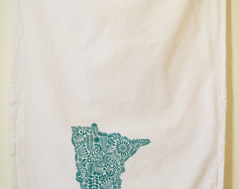 Minnesota Tea towel, screen printed state of Minnesota, cotton tea towel