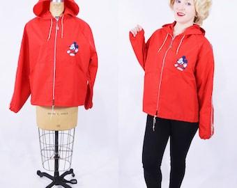 1960s jacket vintage 60s red Walt Disney Productions Mickey Mouse employee hooded windbreaker
