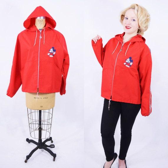 1960s Disney jacket | red Walt Disney Productions Mickey Mouse employee hooded windbreaker | vintage 60s jacket
