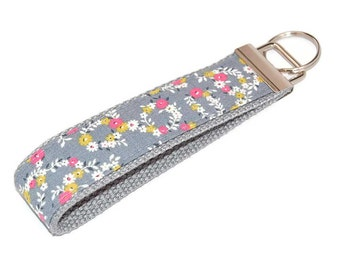 Grey and Pink Floral Wristlet Keychain